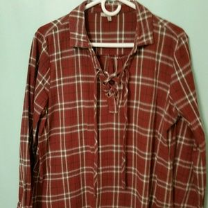 flannel pullover shirt with vneck lace up opening
